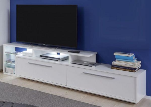 TV-Unterteil Lowboard Kuba in weiß Glanz 212 x 52 cm