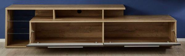 TV-Unterteil Lowboard Kuba in grau Glanz und Alt Eiche 212 x 52 cm