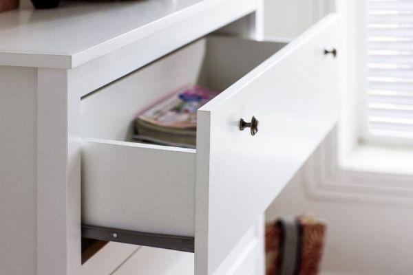 """Sideboard """"Ole"""" in weiß Landhaus 183 x 98 cm mit drei Schubladen und zwei Türen"""