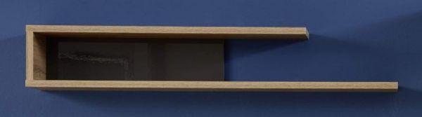 Wandboard Wandregal Kuba in grau Glanz und Alt Eiche 120 x 20 cm