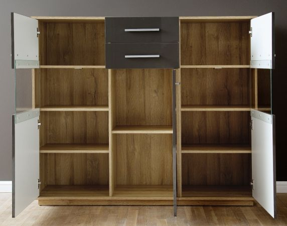 Highboard Kommode Kuba in grau Glanz und Alt Eiche 150 x 123 cm