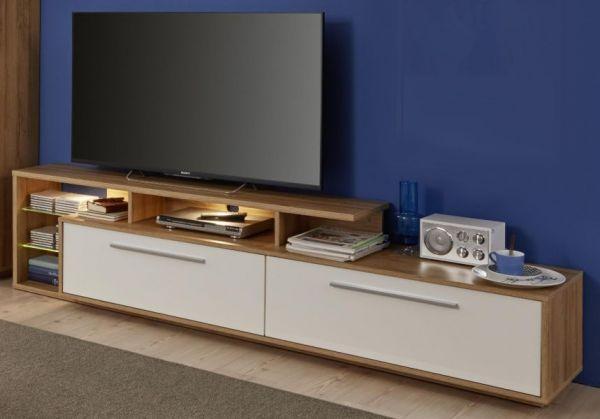 TV-Unterteil Lowboard Kuba in weiß Glanz und Alt Eiche 212 x 52 cm