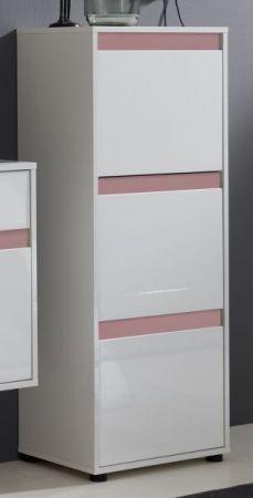 Schuhschrank Kommode Schuhkipper Sol in Lack Hochglanz weiß und rosa 50x126 cm altrosa