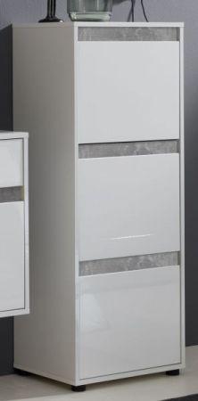 Schuhschrank Kommode Schuhkipper Sol in Lack Hochglanz weiß und Stone Dekor 50x126 cm Beton grau