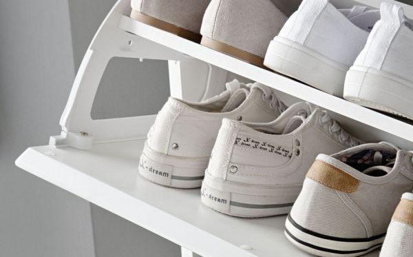 Schuhschrank Kommode Schuhkipper Sol in Lack Hochglanz weiß und matt weiß 50x126 cm
