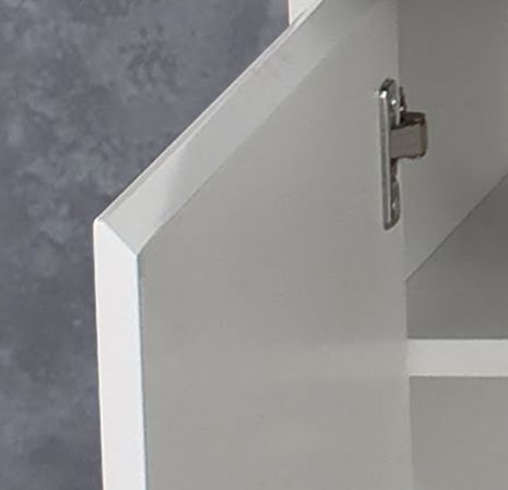Flur Kommode Schuhschrank Sol hängend Lack Hochglanz weiß und Stone Dekor 97x60 cm Beton grau