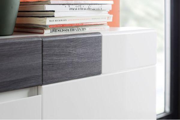 Wohnwand Tokyo 4-teilig Hochglanz weiß mit Absetzungen in grau Sardegna 332 cm inkl. Beleuchtung