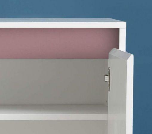 Kommode Sol in Lack Hochglanz weiß und altrosa 80 x 84 cm rosa