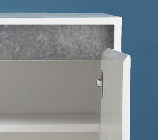 Kommode Sol in Lack Hochglanz weiß und Stone Dekor 80 x 84 cm Beton grau