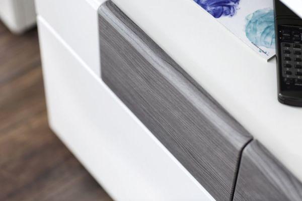 Vitrine Tokyo Hochglanz weiß und Sardegna grau Highboard 92 x 142 cm