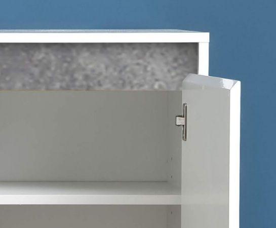 Sideboard Anrichte Sol in Lack Hochglanz weiß und Stone Dekor Kommode 119 x 84 cm Beton grau