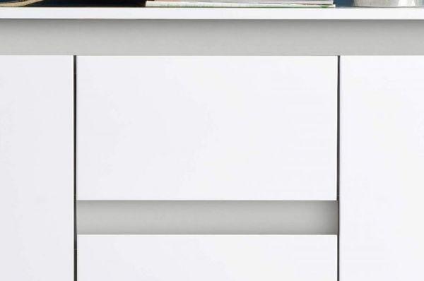 Sideboard Anrichte Sol in Lack Hochglanz weiß und matt weiß Kommode 119 x 84 cm