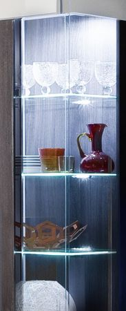 Vitrine Tokyo Hochglanz weiß und Sardegna grau Vitrinenschrank 57 x 200 cm inkl. Beleuchtung