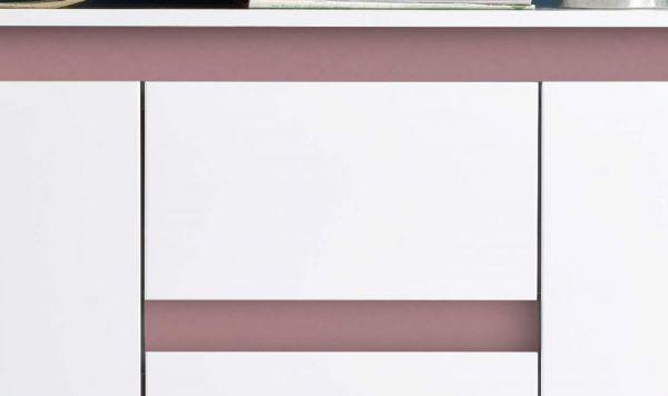 Sideboard Anrichte Sol in Lack weiß Hochglanz und altrosa Kommode 119 x 84 cm rosa