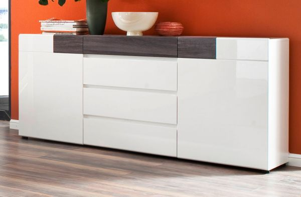 sideboard tokyo in hochglanz wei und grau sardegna. Black Bedroom Furniture Sets. Home Design Ideas