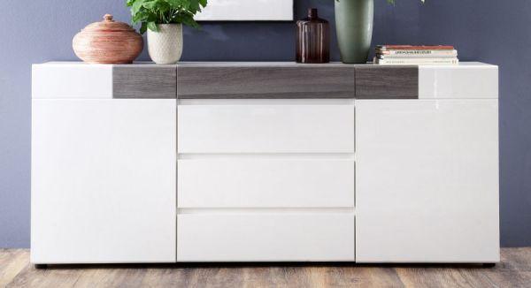 Sideboard Tokyo in Hochglanz weiß und Sardegna grau Anrichte 185 x 83 cm