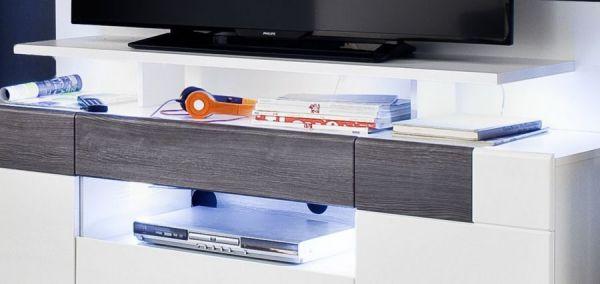 TV-Lowboard Tokyo Hochglanz weiß und Sardegna grau 153 x 43 cm TV-Unterteil