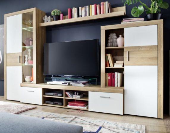 Wohnwand Mega in Alt Eiche und weiß Schrankwand 301 x 193 cm inkl. Beleuchtung