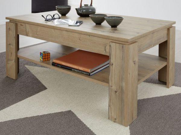 Couchtisch in Bramberg Fichte 110 x 65 cm Holztisch mit Ablage Universal Lodge