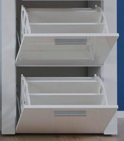 Garderobe Kito in Hochglanz weiß 4-teiliges Garderobenset mit Schuhbank und Kommode 166 x 200 cm