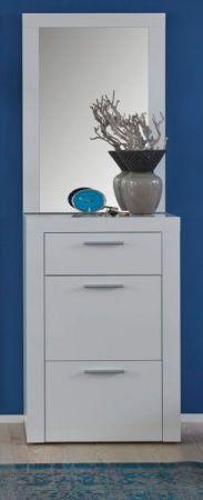 Garderobe Kito in Hochglanz weiß 2-teiliges Garderobenset mit Schuhkommode und Spiegel 58 x 200 cm