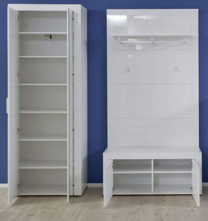 Garderobe Kito in Hochglanz weiß 3-teiliges Garderobenset mit Schuhbank und Garderoben- / Schuhschrank 176 x 200 cm