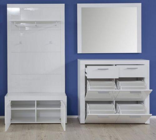 Garderobe Kito in Hochglanz weiß 4-teiliges Garderobenset mit Schuhkommode Schuhbank und Wandpaneel 211 x 200 cm