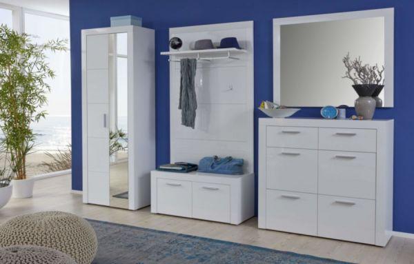 Garderobe Kito in Hochglanz weiß 2-teiliges Garderobenset mit Schuhkommode und Garderobenspiegel 103 x 200 cm