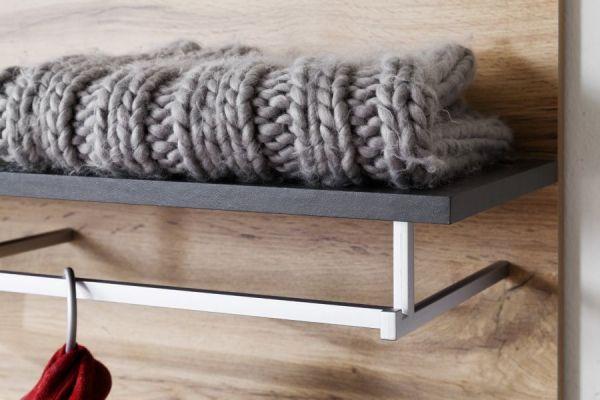 Flur Garderobe Coast Wotan Eiche Dekor und grau Garderobenset 4-teilig 252 cm inkl. Beleuchtung