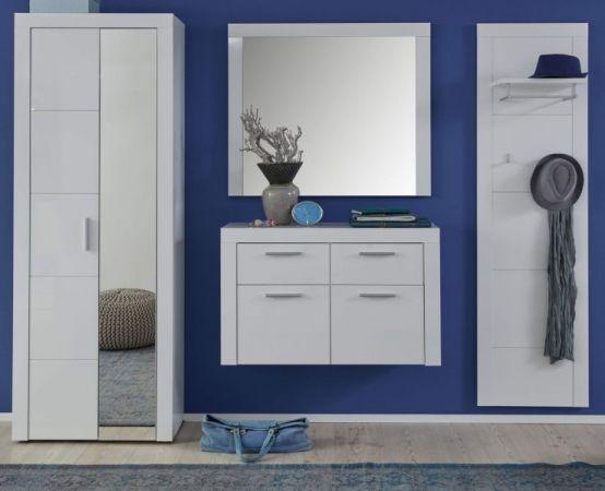 Garderobe Kito in Hochglanz weiß 3-teiliges Garderobenset mit Garderoben- / Schuhschrank und Kommode 186 x 200 cm