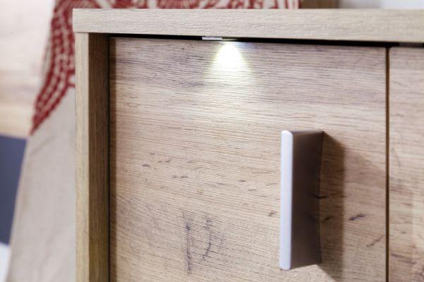Flur Garderobe Coast Wotan Eiche Dekor und grau Garderobenset 3-teilig 168 cm inkl. Beleuchtung