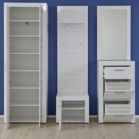 Garderobe Kito in Hochglanz weiß 5-teiliges Garderobenset mit Garderoben- / Schuhschrank und Wandpaneel 209 x 200 cm