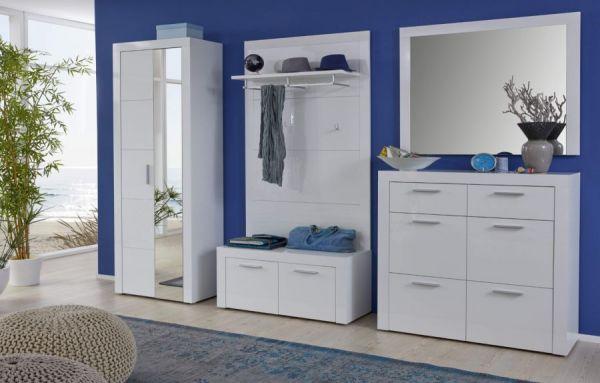 Garderobe Kito in Hochglanz weiß 4-teiliges Garderobenset mit Schuhkommode und Garderobenpaneel 126 x 200 cm