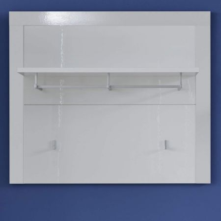 Wandgarderobe Garderobenpaneel Kito in Hochglanz weiß Flurgarderobe 93 x 84 cm