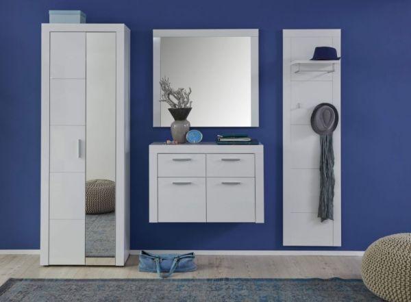 Wandgarderobe Garderobenpaneel Kito in Hochglanz weiß Flurgarderobe 53 x 193 cm