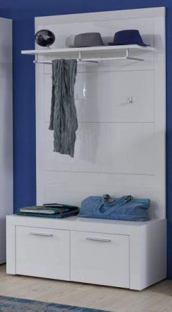 Wandgarderobe Garderobenpaneel Kito in Hochglanz weiß Flurgarderobe 93 x 155 cm