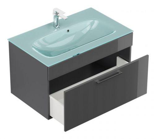 """Badmöbel Set """"Heron"""" Anthrazit Hochglanz, 7-teilig (190x180 cm) inkl. Glaswaschbecken Aquamarin und LED Beleuchtung"""