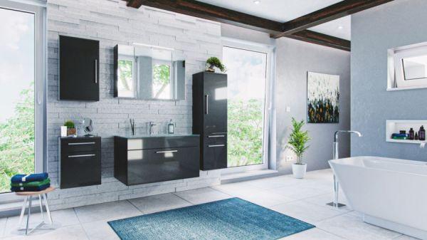 """Badmöbel Set """"Heron"""" Anthrazit Hochglanz, 7-teilig (190x180 cm) inkl. Glaswaschbecken weiß und LED Beleuchtung"""