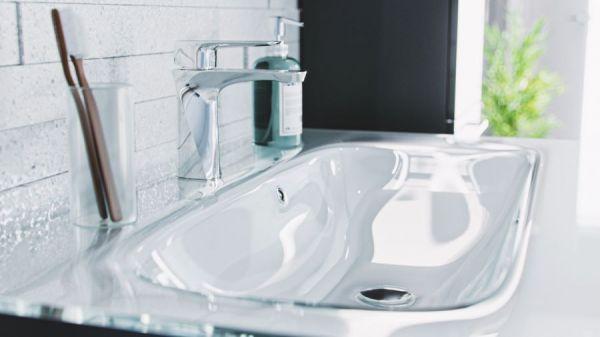 Waschbeckenunterschrank Heron in Hochglanz Anthrazit 2-teiliges Set inkl. Glaswaschbecken in weiß 91 x 53 cm