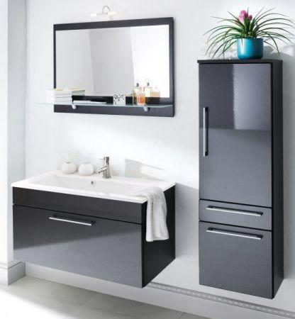 Waschbeckenunterschrank Heron in Hochglanz Anthrazit 2-teiliges Set inkl. Keramikwaschbecken in weiß 90 x 53 cm