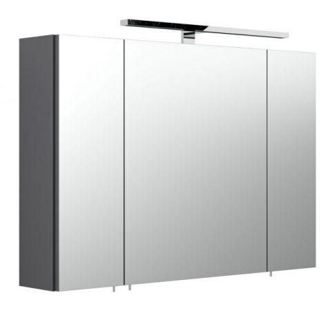 Badezimmer Spiegelschrank Heron in Anthrazit inkl. LED Aufbauleuchte 90 x 68 cm Rima