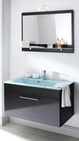 Badezimmer Spiegel Heron in Anthrazit mit Ablage und inkl. LED Aufbauleuchte Badspiegel 90 x 68 cm Laonda