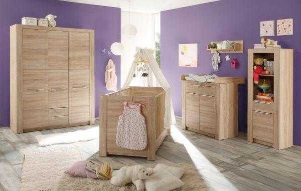 Bettschubkasten Babybett Carlotta in Eiche sägerau Unterbett-Auszug auf Rollen Babyzimmer