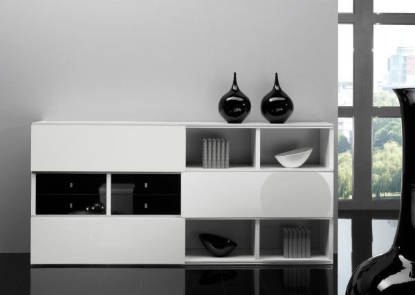 Sideboard Büchersideboard Ahorn mit TV-Fach und Schiebetür Glas satiniert