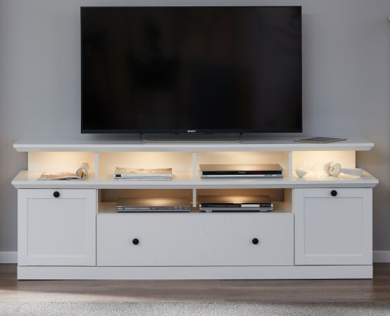 """TV-Lowboard """"Baxter"""" in weiß im Landhausstil inklusive Podest 177 x 65 cm Komforthöhe"""