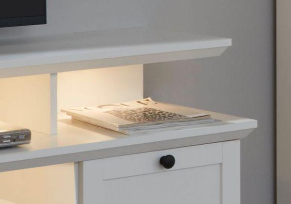 TV-Lowboard Baxter 2-teilig in weiß Landhaus Fernsehtisch inklusive Podest 177 x 65 cm Komforthöhe