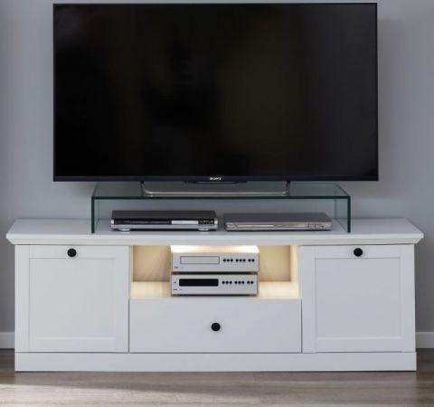 TV-Lowboard Baxter in weiß Landhaus Fernsehtisch 139 x 49 cm