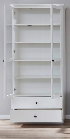 Vitrinenschrank Baxter in weiß Landhaus Vitrine 81 x 196 cm