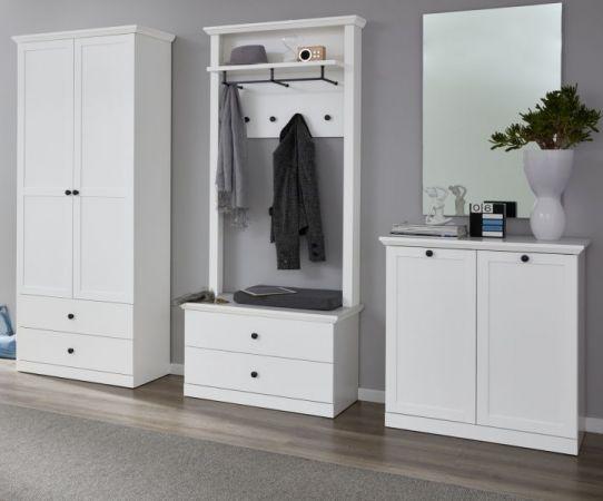 Garderobe Baxter 4-teilig in weiß Landhaus Garderobenset mit Schuh- / Garderobenschrank 273 x 196 cm