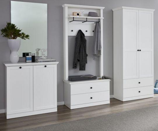 Garderobe Baxter 4-teilig in weiß Landhaus Garderobenset mit Schrank, Paneel, Schuhbank und Kommode 273 x 196 cm